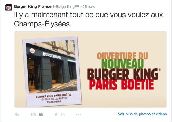 <ouverture d'un Burger King aux Champs Elysées