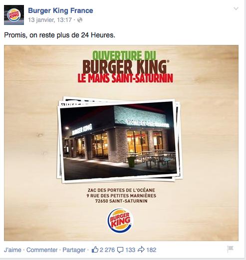 Ouverture d'un burger King au Mans