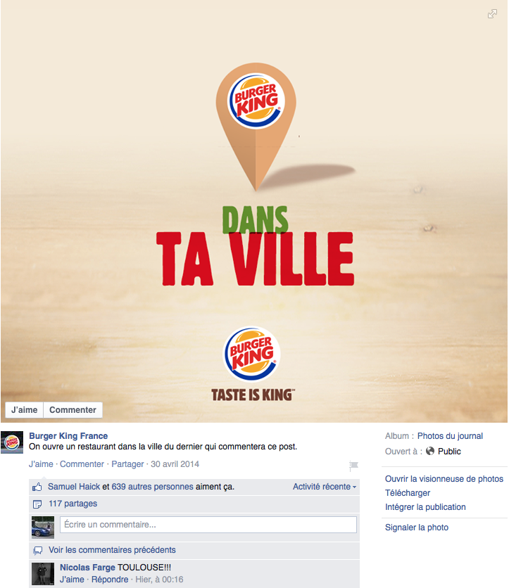 Ouverture d'un Burger King dans la ville du dernier commentaire