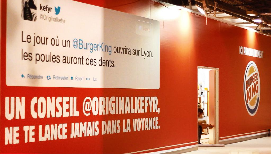 Communication pour l'ouverture d'un Burger King à Lyon