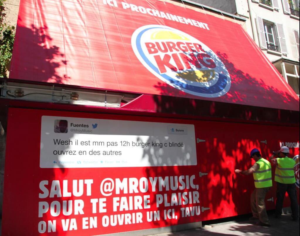 Communication pour l'ouverture du Burger King